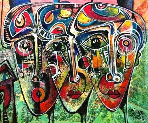 Gonzales Simeon (Perù) - Familia Inka - acrilico tela  - 120 x 100