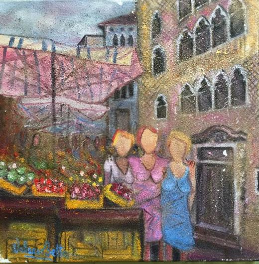 Valerio Betta - Mercato a venezia - olio su tela sabbiata - 50 x 50