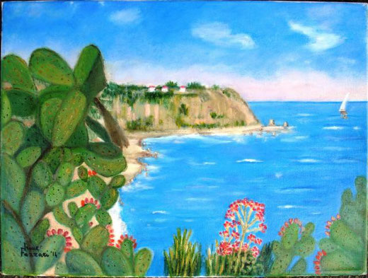 Fazzari Irene - Tropea, passo del cavaliere - olio tela 40 x 30