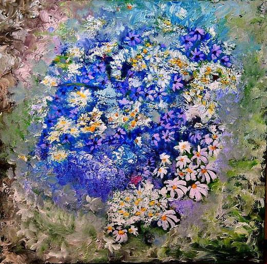 Maximova Olga - Fiori - olio tela - 60 x 60