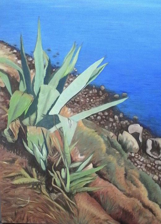 Alesci Francesco - Paesaggio mediterraneo - olio su tela - 60 x 80