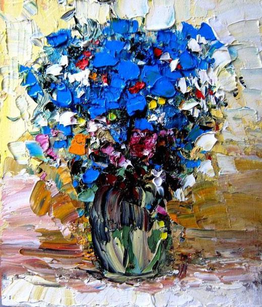 Zuzima  Tania - Flowers - olio cartone - 18 X 24