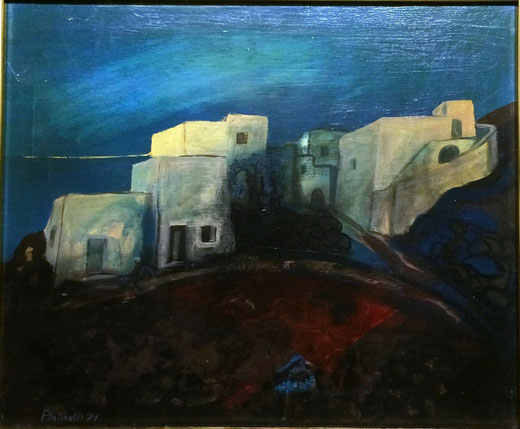 Platinetti Fulvio (Italia) - Stromboli - olio su tela - 60 x 50