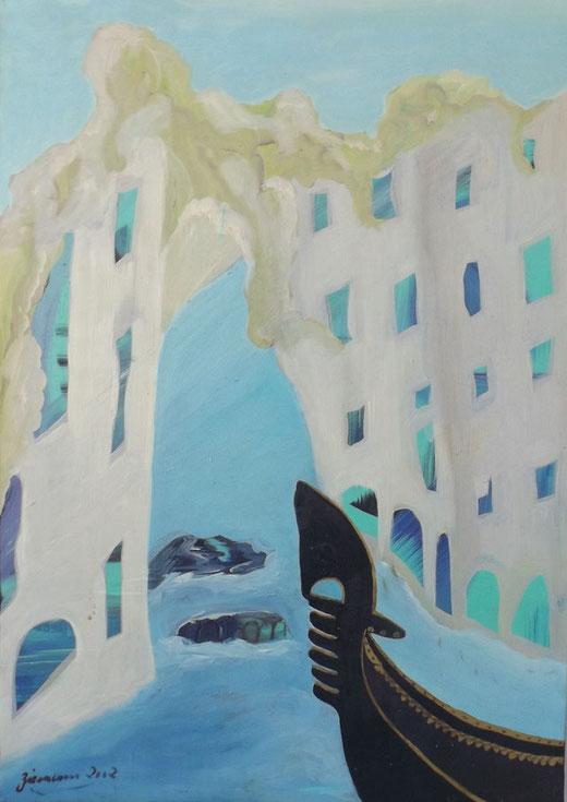 Gabriele Zienemann - Gondola sul canal grande - olio su tela - 50 x 70