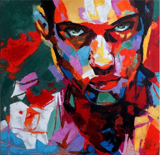 Martin Klein - Visage d'homme - smalti su tela - 100 x 100