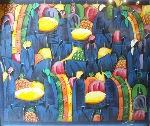 Marcel Juan (Repubblica Dominicana) - Mercato - tecnica mista tela - 61 x 51