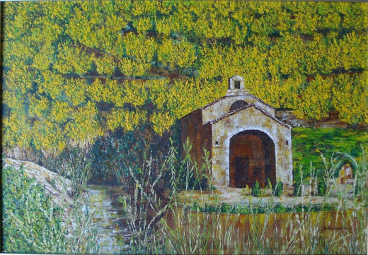 Calvo Julie  (Francia) - Chiesa di campagna - Olio Tela  - 40 X 50