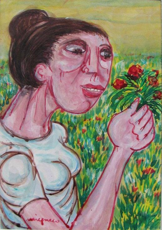 Giuseppe Migneco - Donna con fiori - china colorata  su carta intelata - 29 x 21