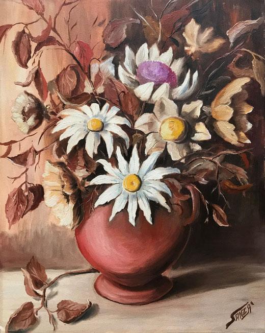 Anzà Sebastiano - Vaso di fiori - olio su tela - 40 x 50