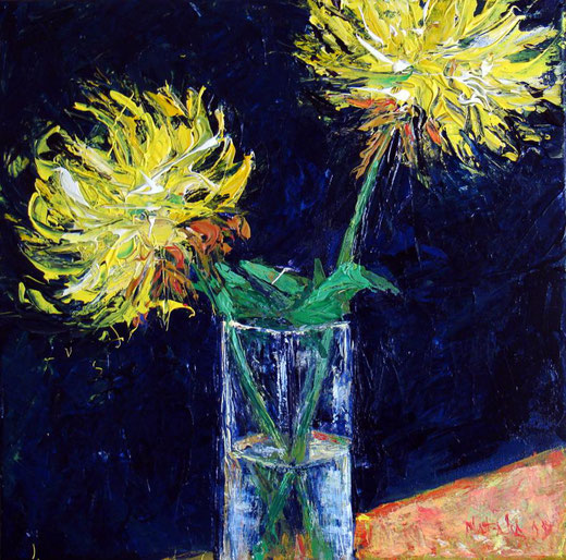 Natalia Kessler - Chrizantems - olio su tela - 40 x 40