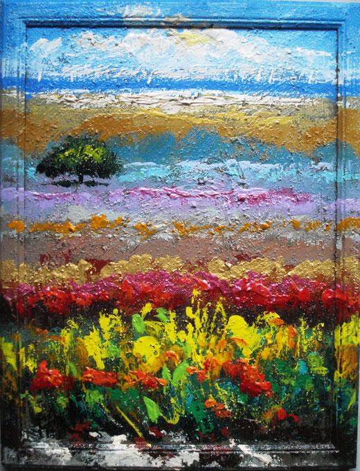 Bonacina Adelio - Prati - olio tavola legno - 34 x 44