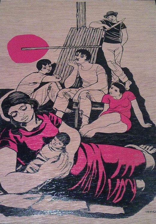 Cerezo Barredo Mino (Spagna) - La nascita di Gesù - olio legno - 25 x 34