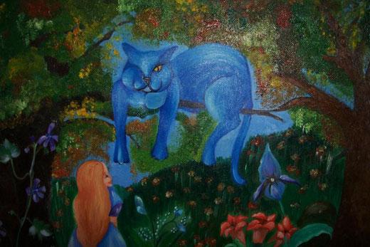 Umberta Ruffini - il gatto blu - olio su tela - 100 x 60