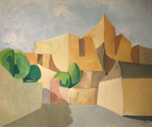 Belli Carmelo (Italia)  - Borgo assolato - olio su cartone telato - 60 x 50