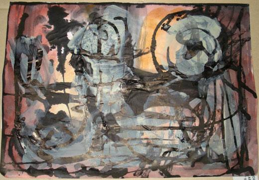 Adrian Lis - Astratto 1 - acquerello su carta - 30 x 20