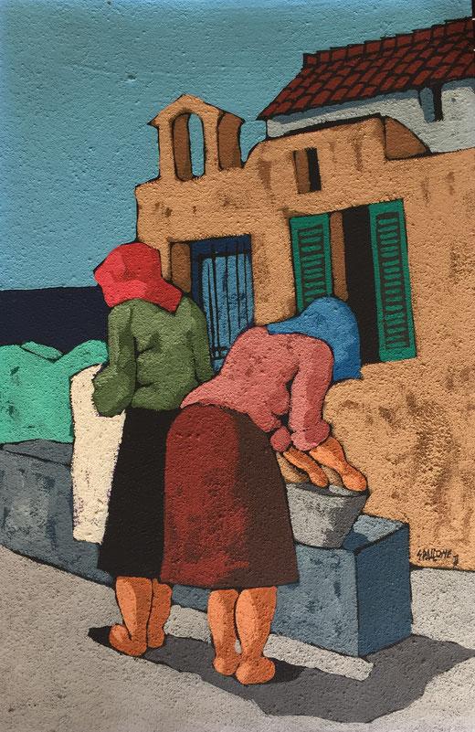 Salvatore Spallone - Donne - olio su carta sabbiata - 40 x 60
