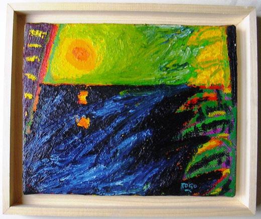 Togo - Alba sullo Ionio - olio tela - 30 x 24