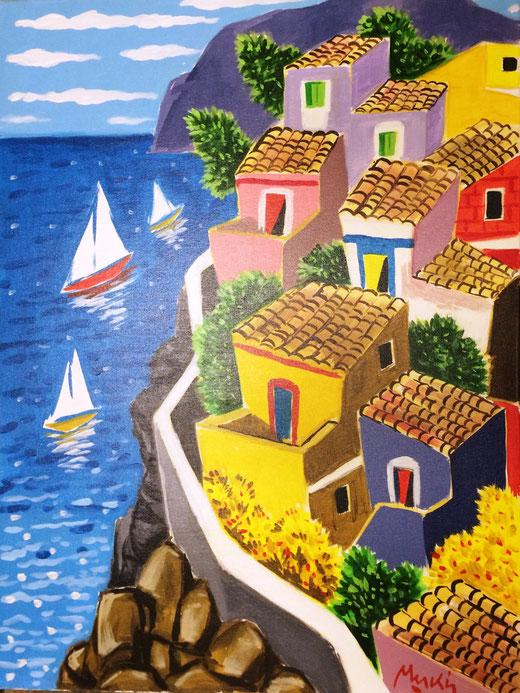 Meschis Renzo (Italia) - Sul mare - olio su tela - 60 x 80