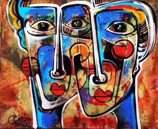 Gonzales Simeon - Pareja Inka - acrilico tela - 60 x 50