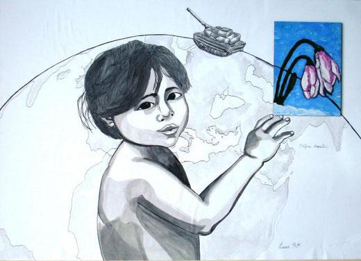 Butti Laura e Mazzoleni Stefania - La fine della guerra Tecnica mista, Cartone  Cartoncino, 70x50cm