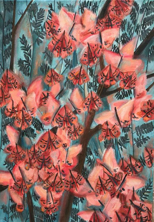 Karatza Athanasia - Fiori - acrilico su tela - 35 x 50