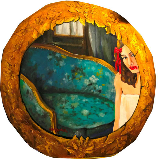 D'alpaos Alba - Allo specchio - olio su legno - 80 x 80