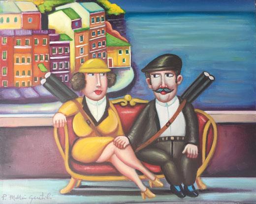 Paola Mattei Gentili - In terrazza - olio su tela - 50 x 40