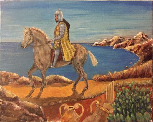 Ruvolo Giuseppe  (Italia) - Fusione cielo, mare, storia - acrilico su tela - 40 x 30