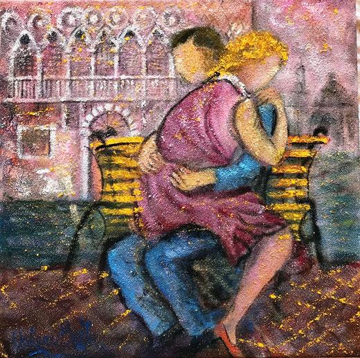 Betta Valerio - L'abbraccio - olio su tela sabbiata - 50 x 50