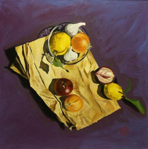 De Haan Paul (Italia) - Still life on violet - olio su tela - 50 x 50