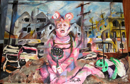 Alba D'Alpaos - La guerra - olio su tela - 100 x 70