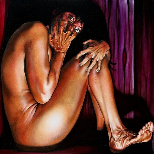 Scannella Alessandro (Italia) - IN CUBO - olio su tela - 90 x 90