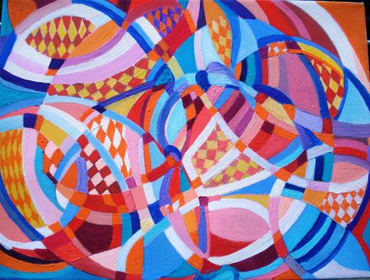 Coral Roberta (Italia) - Geometria - olio tela - 40 x 30