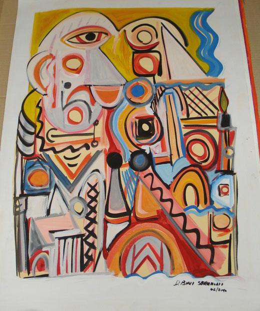 Davide Bini - L'amicizia precaria - acquerello su carta - 50 x 70