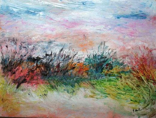 Bellino Andrea - Giardino romantico - olio MDF - 40 x 30