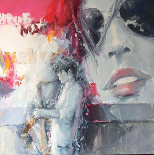 Giuliano Trombini - Jazz - olio su tela - 100 x 100