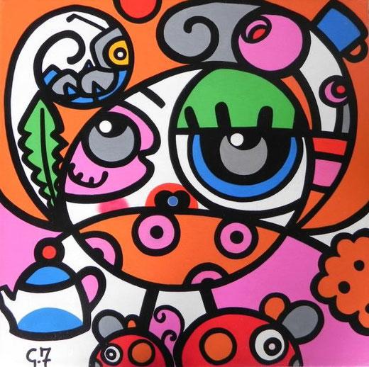 Ferretti Giulia - Il tè delle cinque - acrilico tela - 40 x 40