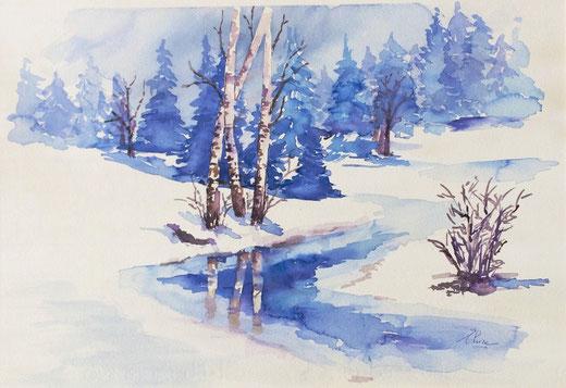 Elvira Bonfanti (Italia) - La magia dell'inverno - acquerello su carta - 50 x 35