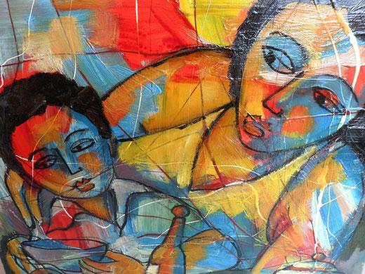 Antonio Romino - Maternità - olio tela - 60 x 50