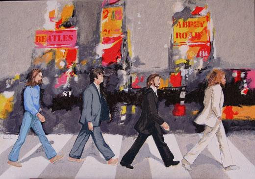 Trombini Giuliano (Italia) Abbey road - serigrafia su tela - 70 x 50