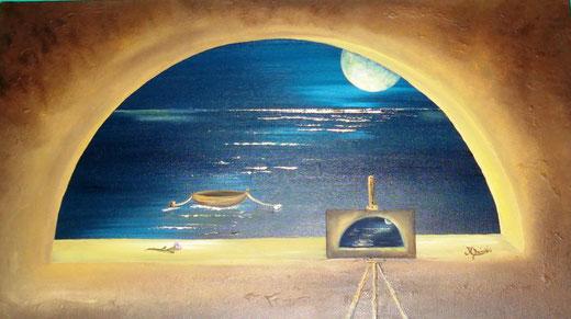 Mario Delicati - L'uno dentro l'altro - olio su tela - 70 x 40