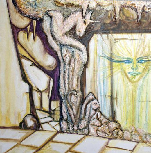 Giohà Giordano - Pensieri pittorici - tecnica mista su tela - 100 x 100