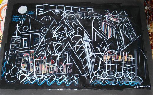 Davide Bini - Portovenere notturna - smalti su carta - 70 x 50