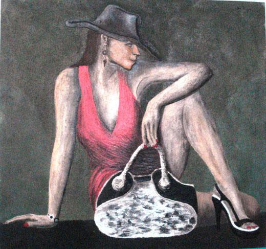 Marco Mazzurana – Donna moderna 4 - tecnica mista su tela - 75 x 75