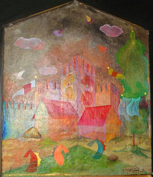 """Carlo Dezzani """"Dejan"""" - Passeggiata interiore - olio su tela - 50 x 60"""