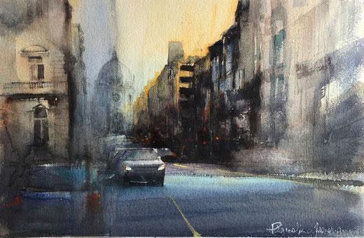 Fracasso Pasqualino - Bruxelles - acquerello su carta - 57 x 37