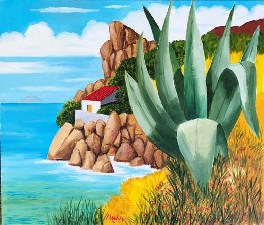 Meschis Renzo - La grande agave - olio su tela - 70 x 60