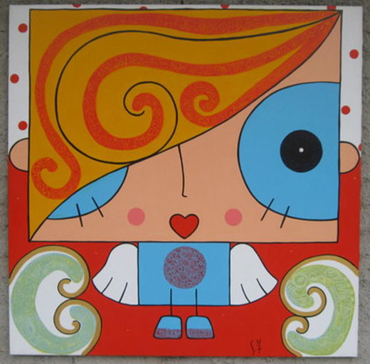 Giulia Ferretti - Angelo Cuore - acrilico su tela - 100 x 100