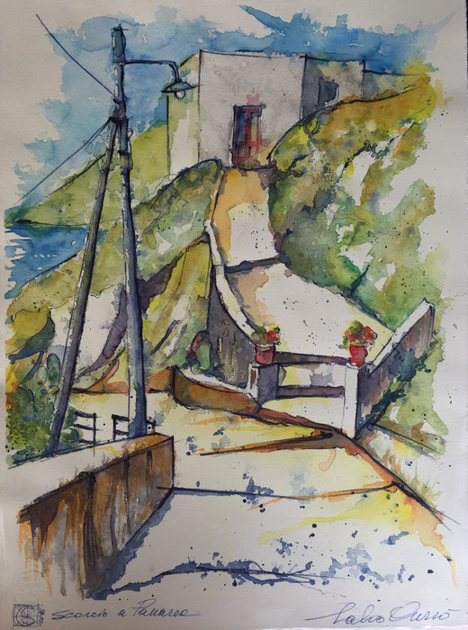 Salvo Currò - Scorcio a Panarea - acquerello su cartoncino - 40 x 55