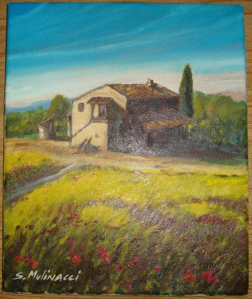Sandro Mulinacci - Casolare - olio su tela - 25 x 35